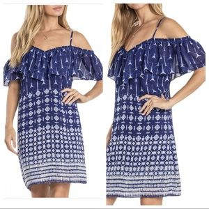 M Miss Me Navy Cold Shoulder Ruffle Summer Dress